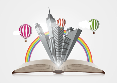 Creative concept. Open Book With Town. Vector illustration