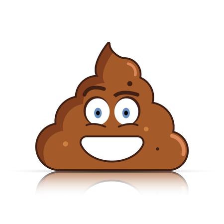 feces: Poo face emoticon vector illustration.