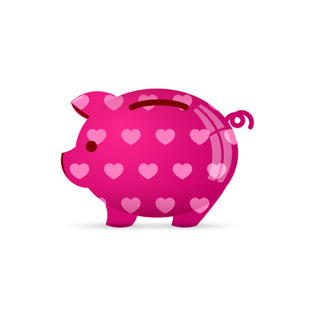Piggy bank with heart. Save love concept. Vector illustration.