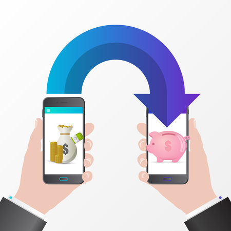Mobile money transfer. Saving coins concept. Vector illustration Illustration