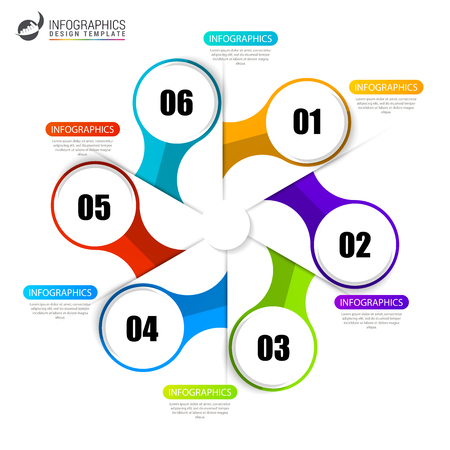 Circle infographics. emplate for diagram, graph, presentation and chart. Vector illustration with 6 steps Illustration