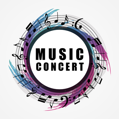Musical background. Music style round shape frame. Vector illustration Illustration