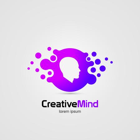 Creative mind. Human brain. Abstract icon. Vector symbol. Illustration