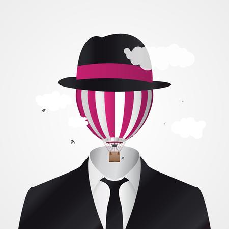 Hoofd in de wolken. Zakenman met hete luchtballon. Verbeelding. Vector illustratie Vector Illustratie