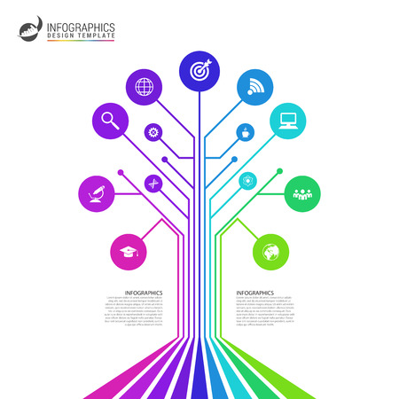 Technology connection concept. Abstract colorful tree. Vector illustration