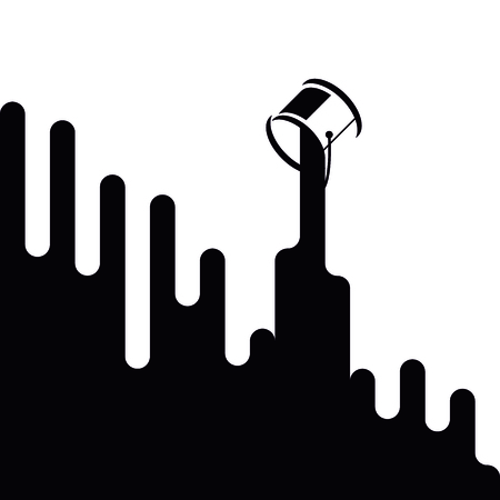 Black ink dripping from can. Background. Vector illustration