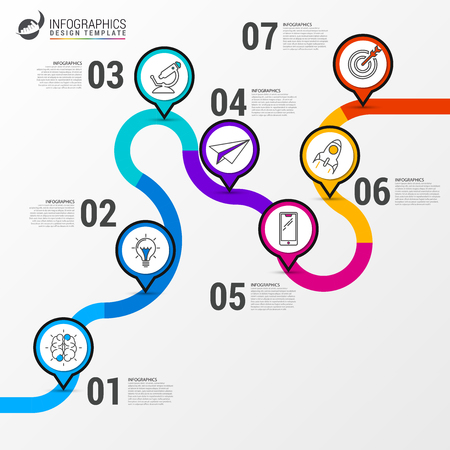 Abstract colorful business path. Timeline infographic template. Way to success concept. Vector illustration
