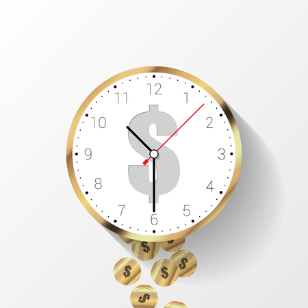 Time is money concept. Money saving. Time management. Vector illustration