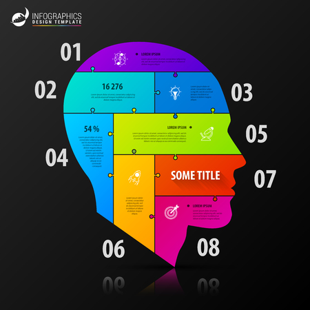 Infographic design template. Business concept with head. Vector illustration