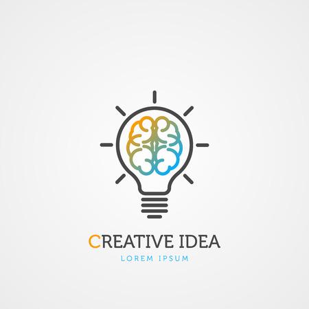 Brain light bulb symbol.