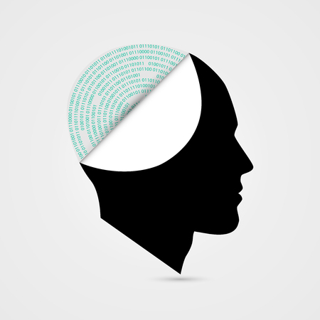 Artificial intelligence. Cyborg. Robot concept with binary code. Vector illustration