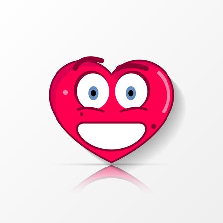 Cute smiling heart with big eyes, emoticon vector illustration. Illustration