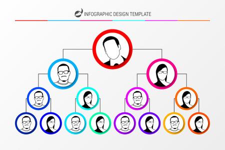 Organization chart concept. Infographic design template. Vector illustration Stock Illustratie