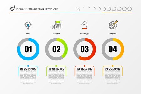 Inforgraphic design template. Timeline concept with percent. Can be used for graph, pie chart, workflow layout, cycling diagram, brochure, report, presentation, web design vector illustration.