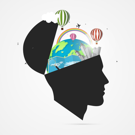 Mind of traveler, creative concept with open head vector illustration.