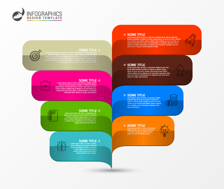 Infographic design template with 8 steps Chart Vector illustration