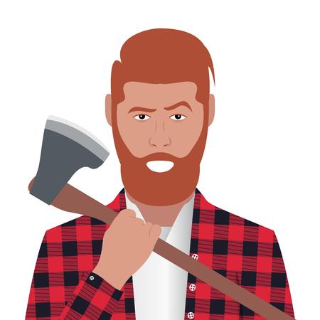 Cartoon character. Avatar symbol. Lumberjack holding an axe. Vector illustration Vettoriali