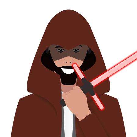 Cartoon character. Avatar symbol. Jedi knight. Vector illustration