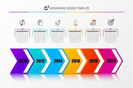Timeline. Infographic design template with 6 steps. Vector illustration Illustration