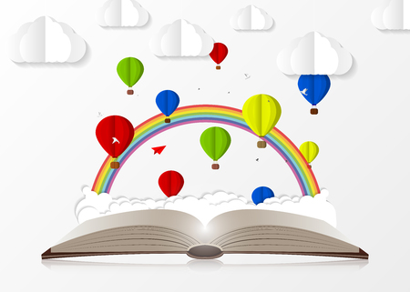 Open book with hot air balloons paper style illustration 矢量图片