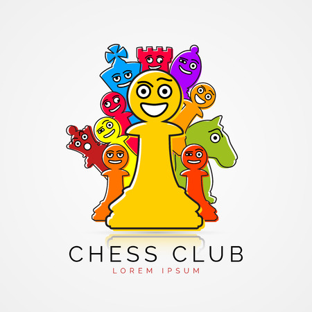 Chess pieces in funny cartoon style. Club symbol vector illustration. Illustration