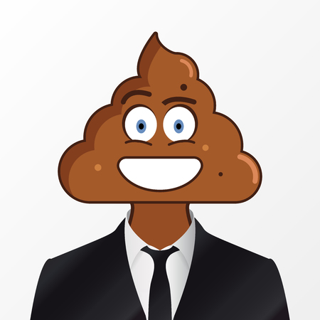 Businessman with shit on his head. Vector illustration Illusztráció