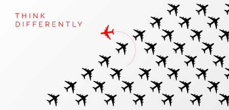 Think differently concept. Red airplane changing direction. Vector illustration Çizim