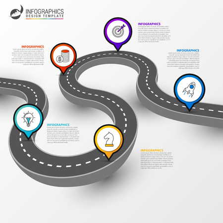 Infographic design template. Road diagram with 5 steps. Can be used for workflow layout, banner, webdesign. Vector illustration Çizim