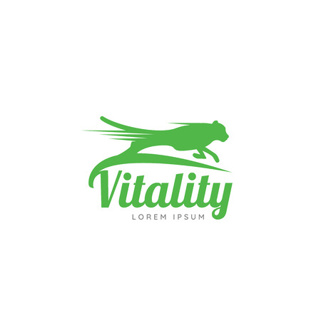 Running Cheetah. Symbol of vitality. Creative design. Vector illustration
