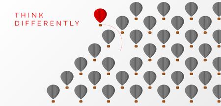 Denk anders concept. hete luchtballon veranderende richting. Vector illustratie