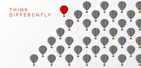 Think differently concept. hot air balloon changing direction. Vector illustration Stok Fotoğraf - 102323240