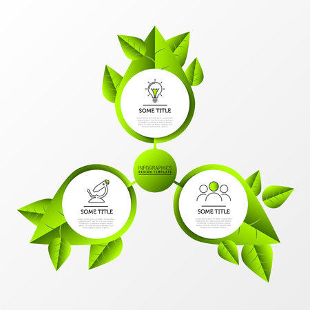 Infographic design template. Nature concept with 3 steps. Can be used for workflow layout, diagram, banner, webdesign. Vector illustration