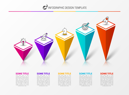 Infographic design template. Creative concept with 5 steps. Can be used for workflow layout, diagram, banner, webdesign. Vector illustration Illustration