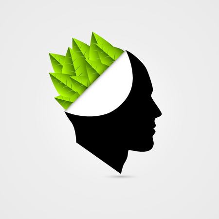 Think Green concept. Open head with leafs. Vector illustration Banque d'images - 111755728