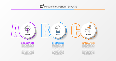 Infographic design template. Creative concept with 3 steps. Can be used for workflow layout, diagram, banner, webdesign. Vector illustration Çizim