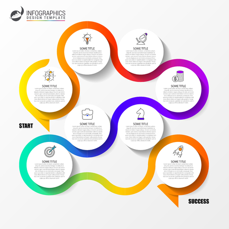 Infographic design template. Creative concept with 8 steps. Can be used for workflow layout, diagram, banner, webdesign. Vector illustration Stok Fotoğraf - 111557702