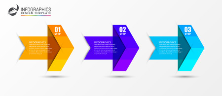 Infographic design template. Creative concept with 3 arrows. Can be used for workflow layout, diagram, banner, webdesign. Vector illustration Ilustração