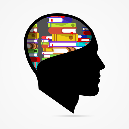Human head with books. Creative education concept. Vector illustration