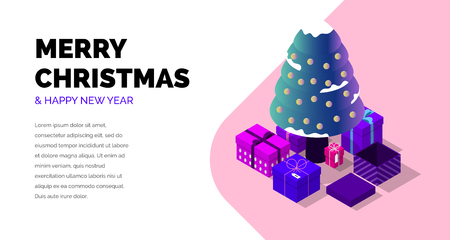 Merry Christmas and Happy New Year. Creative isometric vector. Illustration
