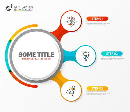 Infographic design template. Creative concept with 3 steps. Can be used for workflow layout, diagram, banner, webdesign. Vector illustration Ilustração