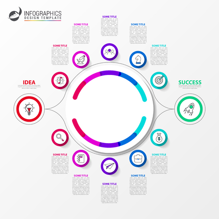 Infographic design template. 2 different paths to success. Can be used for workflow layout, diagram, banner, webdesign. Vector illustration Ilustração