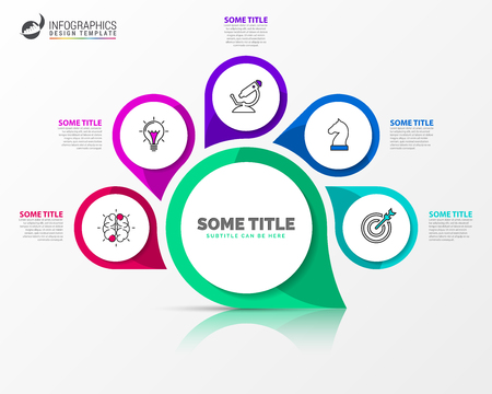 Infographic design template. Creative concept with 5 steps. Can be used for workflow layout, diagram, banner, webdesign. Vector illustration Ilustração