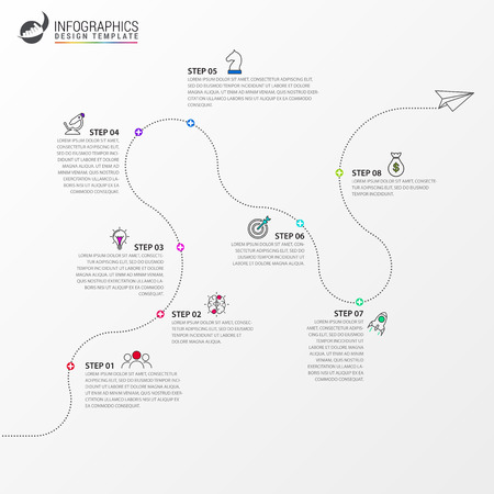 Infographic design template. Timeline concept with 8 steps. Can be used for workflow layout, diagram, banner, webdesign. Vector illustration