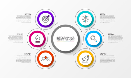 Infographic design template. Creative concept with 6 steps. Can be used for workflow layout, diagram, banner, webdesign. Vector illustration Ilustração