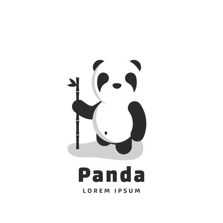 Cute panda with bamboo in hand. Vector illustration Ilustração