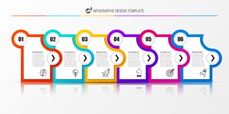 Infographic design template. Creative concept with 6 steps. Can be used for workflow layout, diagram, banner, webdesign. Vector illustration Vectores