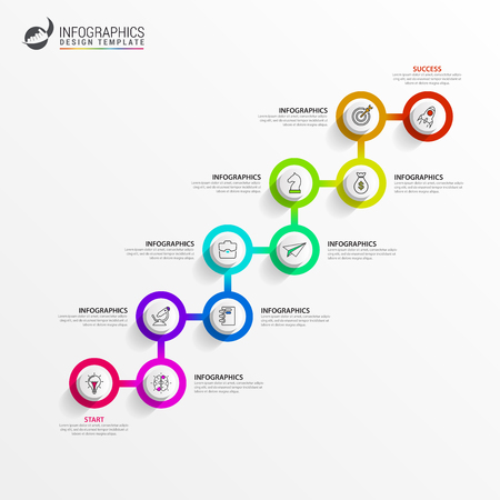 Infographic design template. Timeline concept with 10 steps. Can be used for workflow layout, diagram, banner, webdesign. Vector illustration
