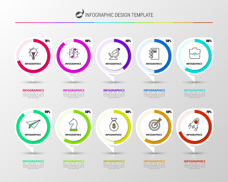 Infographic design template. Creative concept with 10 steps. Can be used for workflow layout, diagram, banner, webdesign. Vector illustration