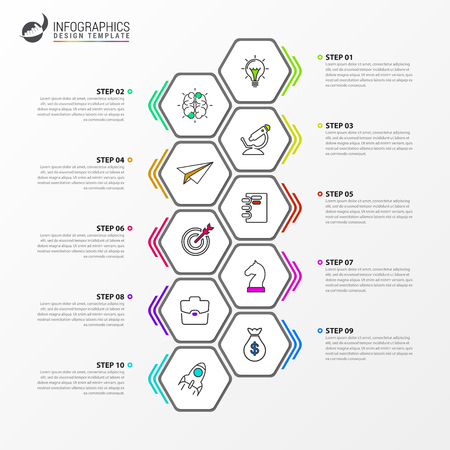 Modèle de conception infographique. Concept de chronologie avec 10 étapes. Peut être utilisé pour la mise en page du flux de travail, le diagramme, la bannière, la conception Web. Illustration vectorielle