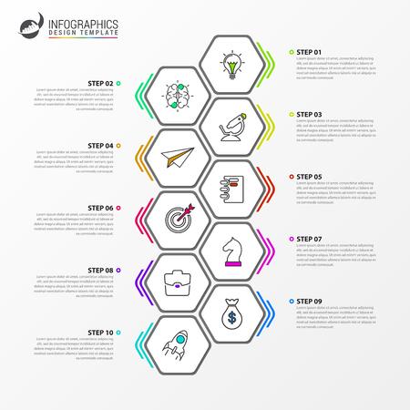 Plantilla de diseño de infografía. Concepto de línea de tiempo con 10 pasos. Se puede utilizar para diseño de flujo de trabajo, diagrama, banner, diseño web. Ilustración vectorial